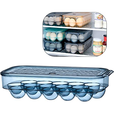 KaryHome Egg Holder for Refrigerator, Stackable Refrigerator Organizer Bins With Lid,16 Egg Tray