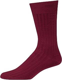 Boardroom Socks Merino Wool Mid-Calf Dress Socks for Men, Ribbed Dress Socks, Burgundy