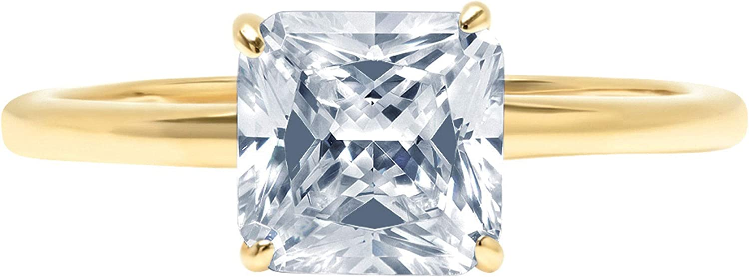 1.9ct Brilliant Asscher Cut Solitaire Designer Genuine Natural Sky Blue Aquamarine Ideal VVS1 4-Prong Engagement Wedding Bridal Promise Anniversary Ring Solid 14k Yellow Gold for Women