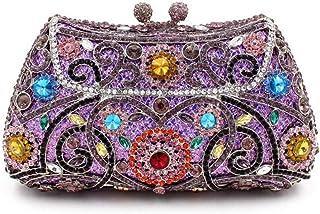 2019 New Evening Bag Rhinestone Clutch Bag Women's Personality Creativity Shoulder Bag Rhinestone Crystal Crossbody Bag,Purple,16.5 * 8.5 * 5cm