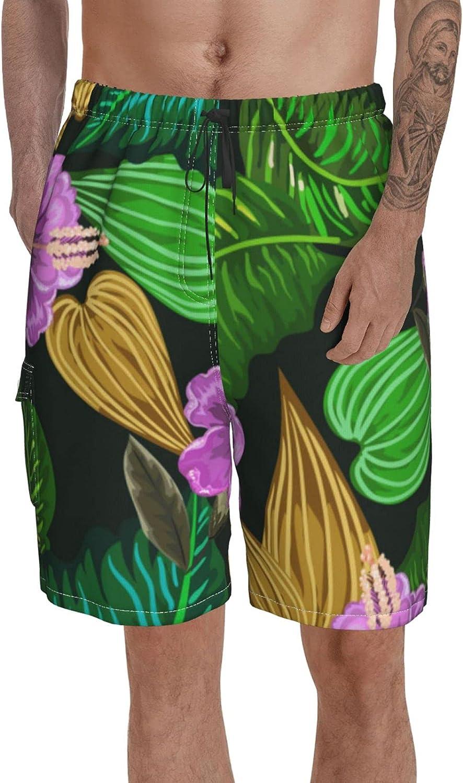 Men Volley Shorts Elastic Waist Swim Trunk Tropical Classic Swimwear with Pockets