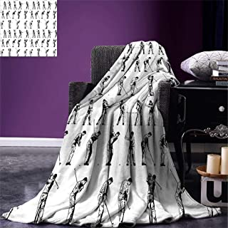 SINOVAL Golf Throw Blanket Golf Swing Shown in Fourteen Stages Sports Hobby Themed Sketch Art Storyboard Print Warm Microfiber All Season Blanket for Bed or Couch Black White,Fashion Blanket