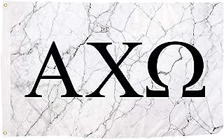 Alpha Chi Omega Light Marble Sorority Letter Flag Banner 3 x 5 Sign Decor AXO - Light Marble