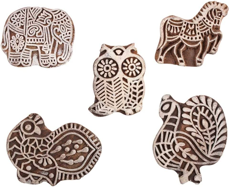 Max 74% OFF service IndianShelf Handmade Brown Set of 5 Printing New Bloc Mix Wooden