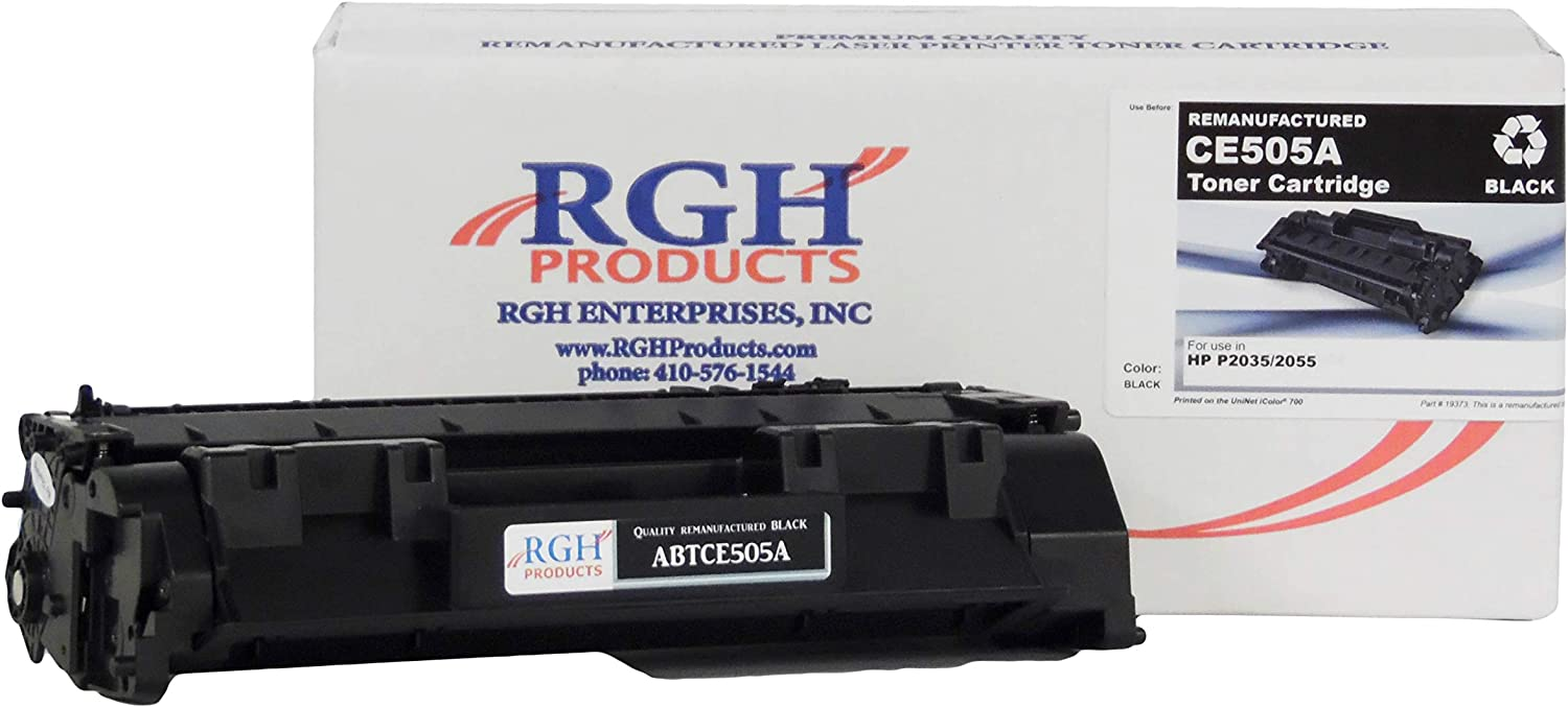 RGH Products(TM) Remanufactured ABTCE505A Toner Cartridge Tray, Replaces HP Laserjet 05A/ CE505A, for use in HP CM3530 MFP, CM3525 MFP, P2035, P2035n, P2050, P2055, P2055d, P2055dn Printer