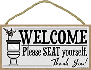 Honey Dew Gifts Welcome Please Seat Yourself - 5 x 10 inch Hanging, Wall Art, Decorative Wood Sign Home Bathroom Decor