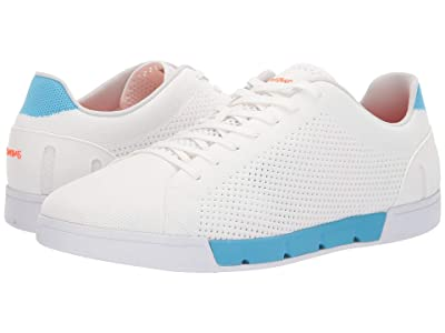 SWIMS Breeze Tennis Knit Sneakers (White/Norse Blue) Men