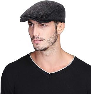 Jelord - Boinas Hombre Verano Invierno de Algodón Vintage Peaky Blinders Newsboy Sombreros Plano Ajustable al Aire Libre C...