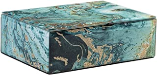 WANYIDA Blue Marble Pattern Glass Storage Box Organizer Case for Women/Men Jewelry Glasses Watch Accessories