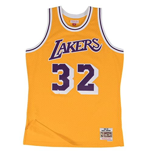 Magic Johnson Los Angeles Lakers Mitchell and Ness Mens Gold Throwback Jesey