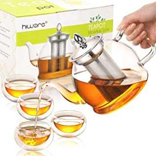 Hiware Glass Teapot Set, 32 Oz Glass Teapot with Removable Infuser and Cups, Stovetop Safe Tea Kettle, Blooming and Loose Leaf Tea Maker Set