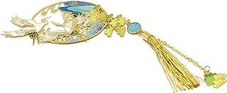 Segnalibro gru libri nappa perlina uccello onde verde giallo bianco blu oro Giappone ottone resina regali personalizzati r...