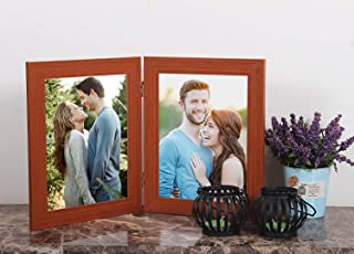 Art street - MDF BrownTwin Connected Table Photo Frame - Photo Size 5X7 Each