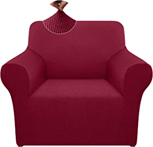 Pepibear High Stretch Armchair Cover 1 Piece Super Soft Thick Chair Cover Non Slip Sofa Slipcover Furniture Proctor with Foams and Elastic Bottom (Small, Wine Red)