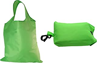 Shopping Bag Reusable Washable fold able | Smart Grocery Tote Bags Carrier with Key-Ring Foldable Collapsible Attached Pouch Washable, Durable, Lightweight Eco-Friendly (Green)