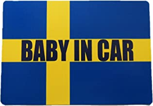 Baby in car ベビーインカー マグネットシート ステッカー スウェーデン国旗風 赤ちゃん乗車中 スウェーデン車 車ボディー外貼り用