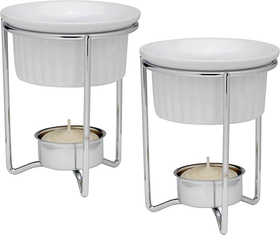 HIC Harold Import Co 43678 HIC Butter Warmers With Tealight Stand White Ceramic Set Of 2 Silver