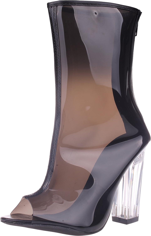 Chase & Chloe Women's Fashion Dress Mid Calf 4  Chunky Heel Clear Open Toe Boot