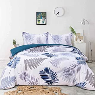 NANKO Queen Duvet Cover Set 100% Cotton, Blue Leaf 3pc 90x90 Leaves Nature Print Pattern Soft Bedding Down Comforter Quilt Covers with Zip Tie- Modern Country Farmhouse for Men Women Teen Teal Floral
