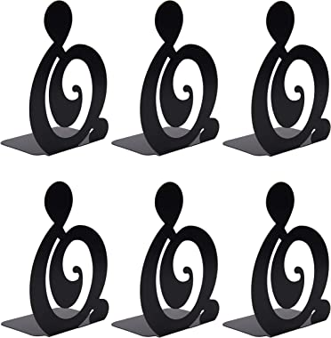 WUWEOT 3 Pair/6 Piece Music Theme Book Ends, Metal Iron Decorative Heavy Duty Bookends, Black Book Support Book Stopper for S