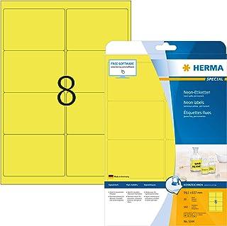HERMA 5144 Neon-Etiketten DIN A4 99,1 x 67,7 mm, 20 Blatt, Papier, matt selbstklebend, bedruckbar, permanent haftende Farbetiketten, 160 Klebeetiketten, neon-gelb