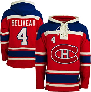 Montreal Canadiens Jean Beliveau NHL Alumni Heavyweight Jersey Lacer Hoodie