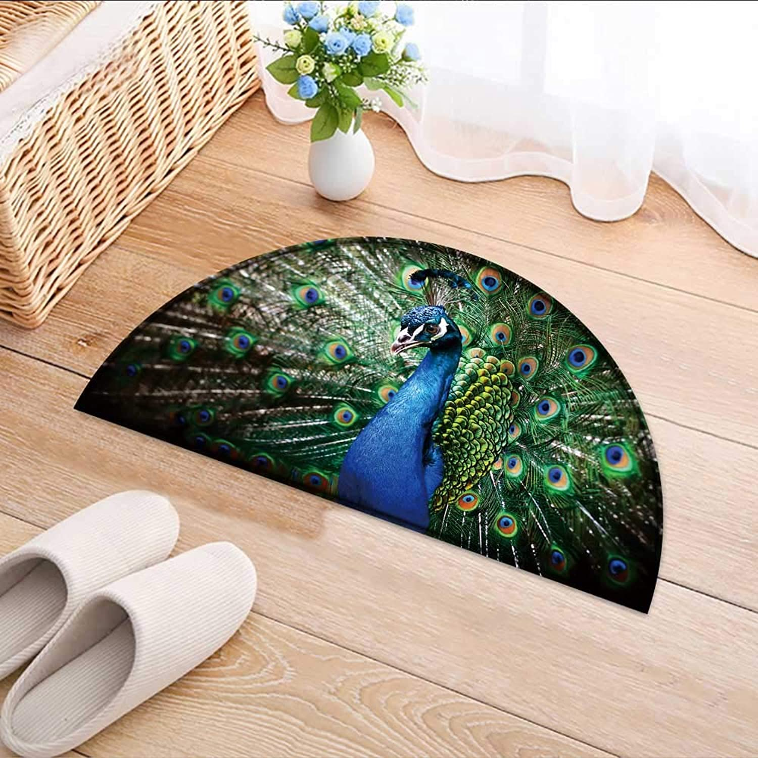 Semicircle Rug Kid Carpet Portrait of Peacock with Feathers Out Home Decor Foor Carpe W59 x H35 INCH