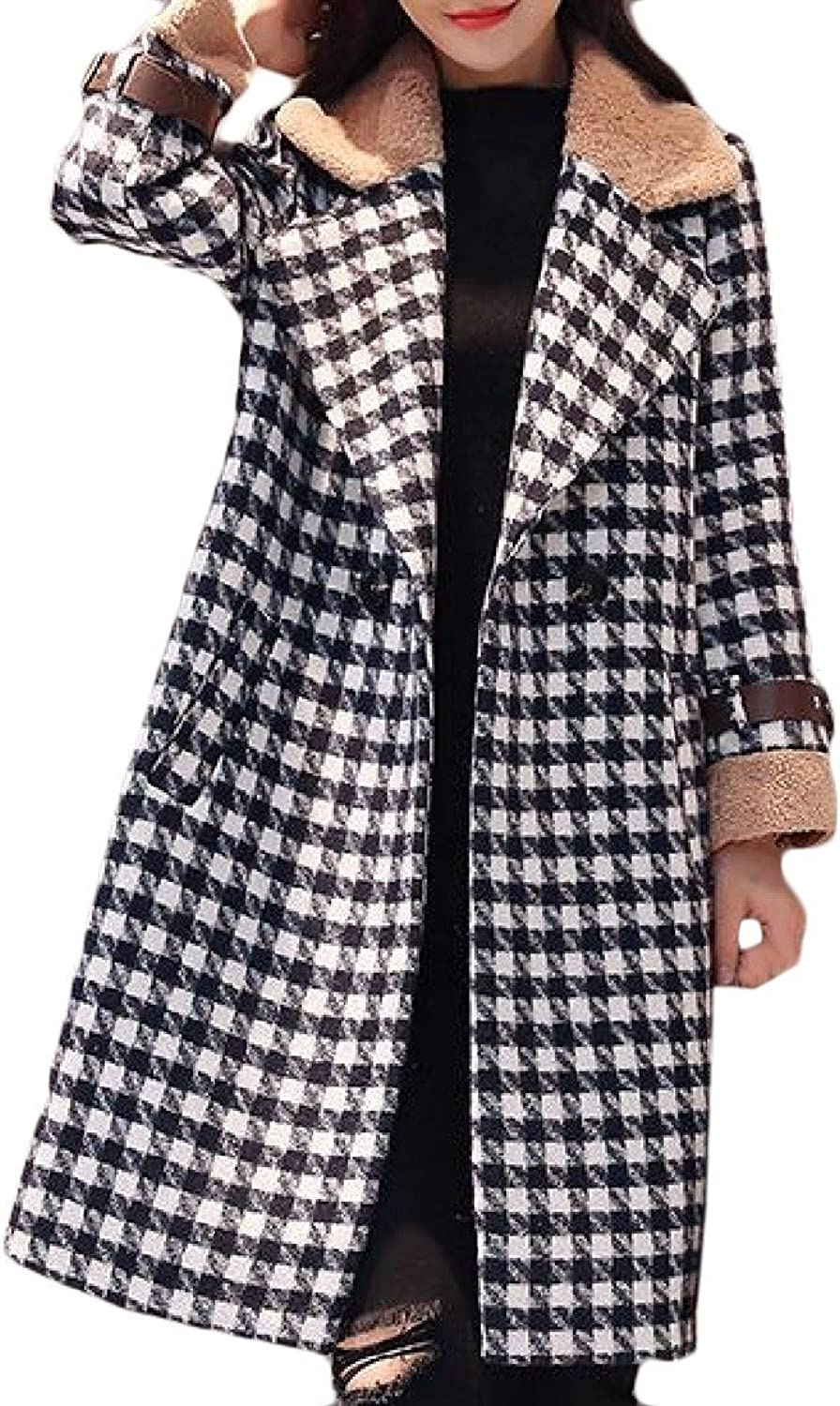 CoolredWomen Houndstooth DoubleBreasted Long Sleeve Lapel Peacoat