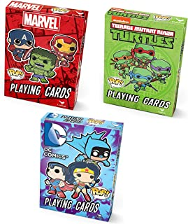 Super Hero Pop Playing Cards DC Comics Marvel TMNT Spiderman Hulk Captain America Superman Batman Harley Quinn Teenage Mutant Ninja Turtles Bundle 3 Sets