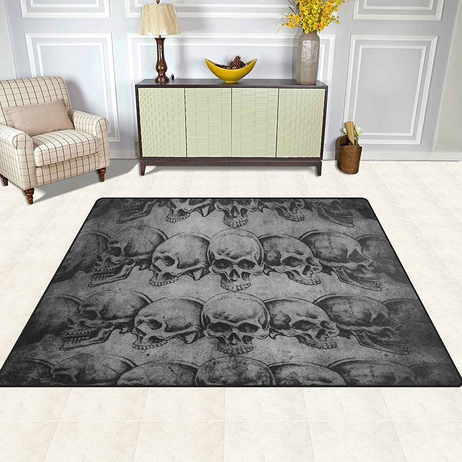 Area Rug Sugar Skull Print Living Carpet Limited price sale Rugs for Room Max 48% OFF