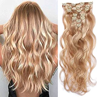 Valiilo Clip on Hair Extensions Real Human Hair Extensions 22 inches 70g Clip on for Fine Hair Full Head 7 pieces Body Wave Wavy Weft Remy Hair(22 inches, 12-613-bw)