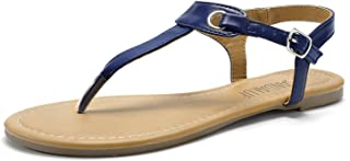 SANDALUP Women's Claire Thong Flat Sandals with Buckle