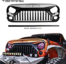 TOPFIRE Upgraded Front Grill for Jeep Wrangler Rubicon Sahara Sport JK/JKU 2007-2018 (Matte Black, with Logo)