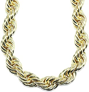 Mega Jewellery Gold plated Hip Hop Rope Chain XL Hollow 20mm x 30
