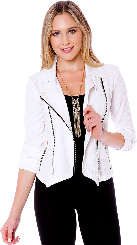 Womens Long Sleeve Zipper Detail Rib Fitted Jacket Blazer