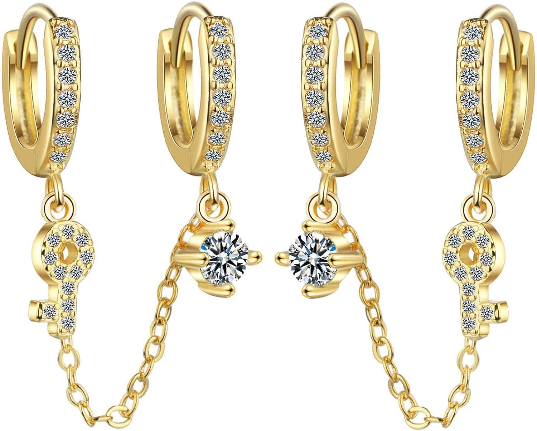 Chic Key Ear Cuff Crawler Earrings for Women Girls Climber Gold Tone Chain Tassel Dainty Rhinestone Dangle Drop Cartilage Studs Cuffs Ears Wrap Pin Clip on Earring Jewelry