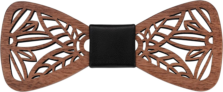 Mr.Van Handmade Bow Tie Men's Pre Tied Adjustable, Natural Walnut Wood For Tuxedo Wedding Party