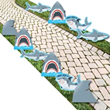 Big Dot of Happiness Shark Zone - Shark and Fin Lawn Decorations - Outdoor Jawsome Shark Viewing Week Party or Birthday Party Yard Decorations - 10 Piece