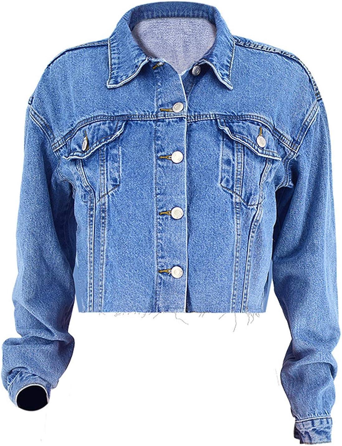 Gihuo Women's Casual Loose Blue Cropped Jean Jacket Fray Denim Trucker Jacket