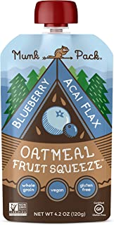 Munk Pack Oatmeal Fruit Squeeze Blueberry Acai Flax | Ready to Eat Oatmeal on the Go | Good Source of Fiber | 4.2oz | 12 Pack