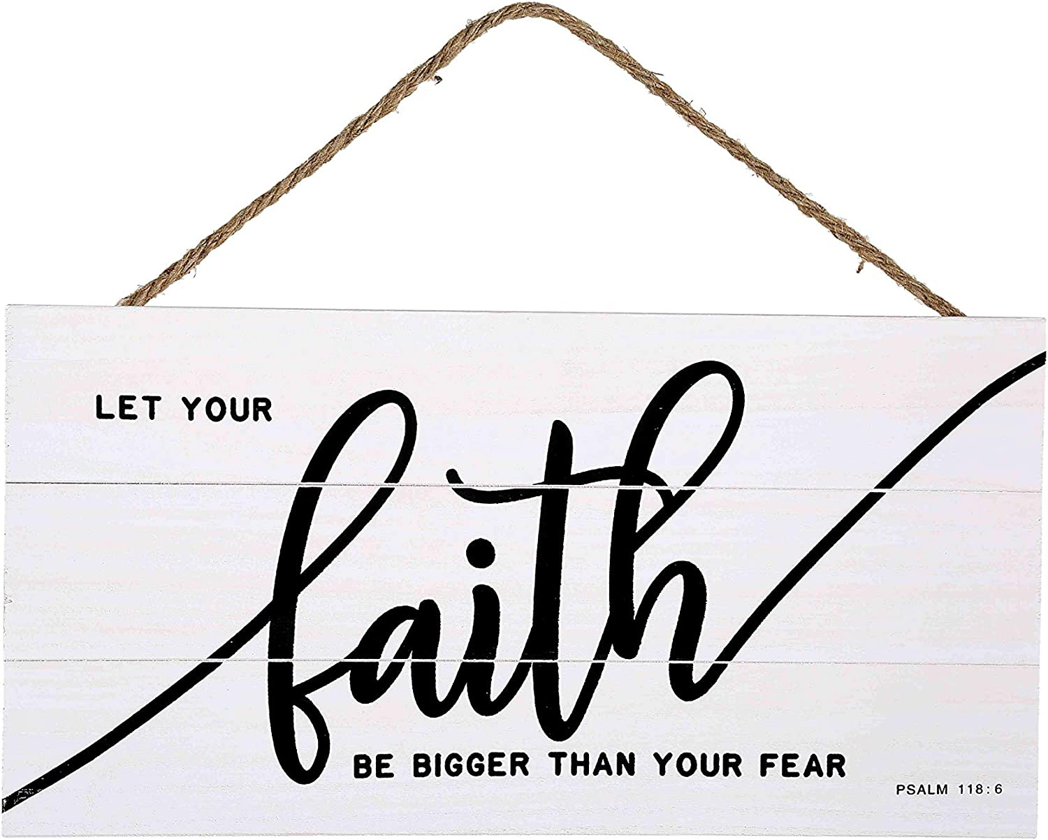 Faith Bigger Than Fear Wood Plank Hanging Sign for Home Decor (13.75 x 6.9 Inches with White Background)