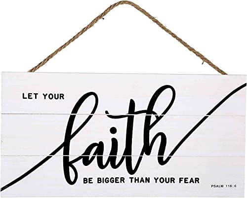 wholesale Faith Bigger Than popular Fear Wood outlet online sale Plank Hanging Sign for Home Decor (13.75 x 6.9 Inches with White Background) outlet sale