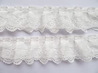 XiXiboutique 15 Yards 3-Layer Pleated Organza Lace Ribbon Gathered Mesh Chiffon Fabric Handmade DIY Lace Trim Sewing Craft,White
