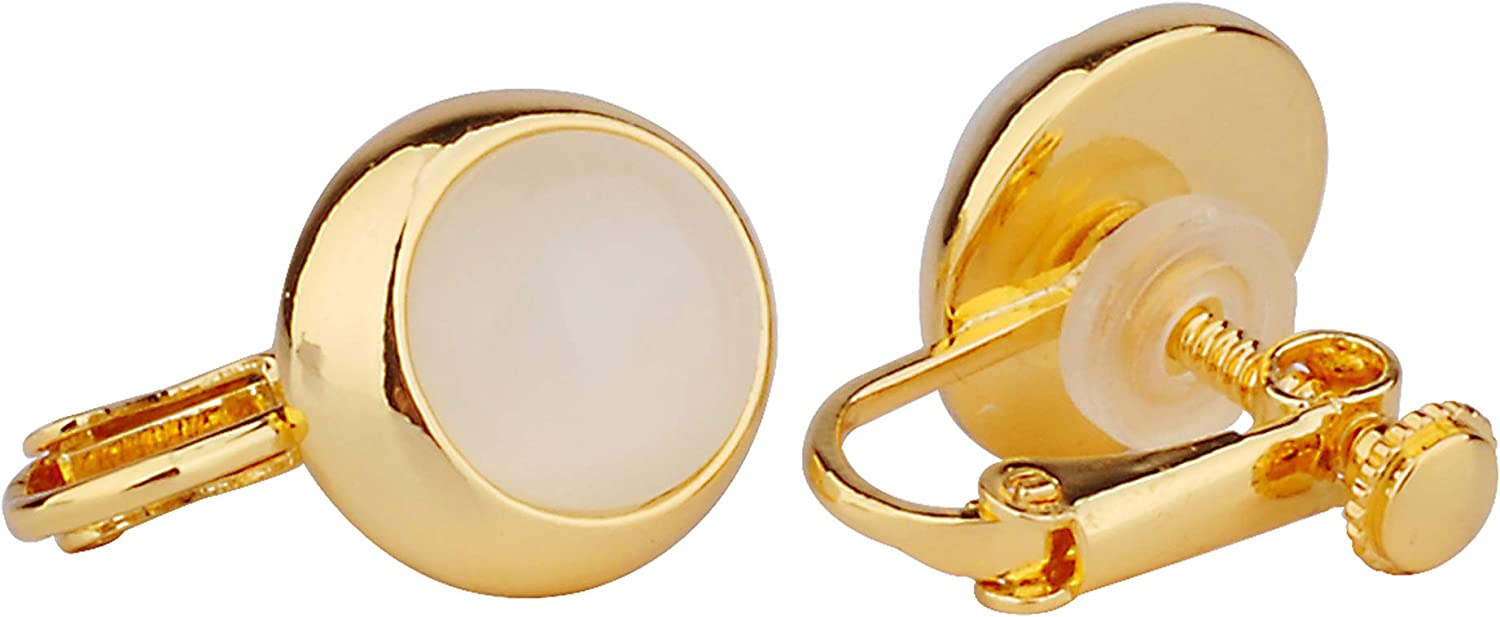 Philocaly Gold Tone Round Gemstone Clip-On Earrings for Women Girls, 18K Gold Plated