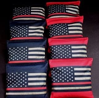 BackYardGamesUSA RED LIVES MATTER FIREFIGHTER RED LINE US FLAG 8 ACA regulation Cornhole bags