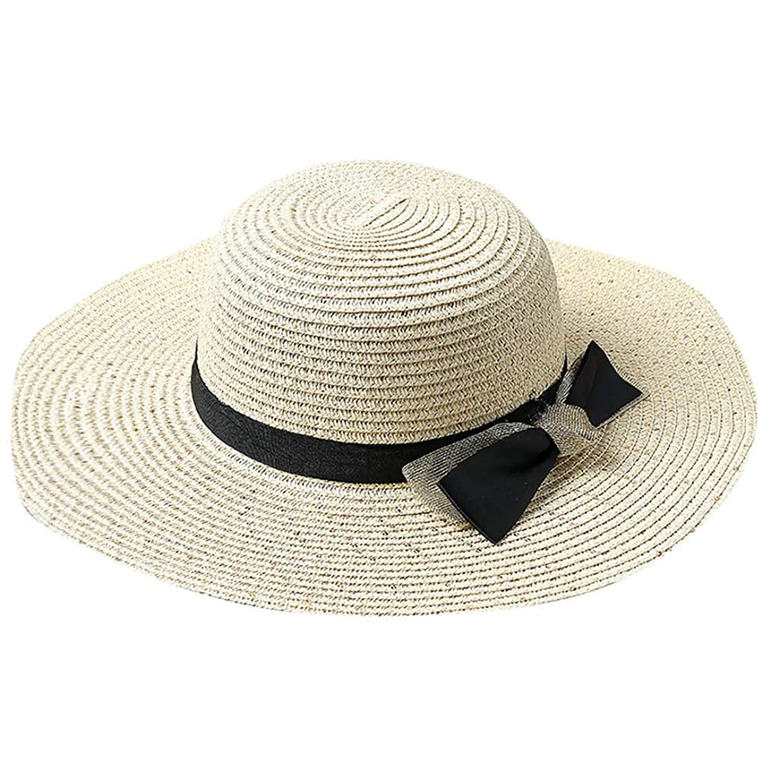 きょうだい文明公平ROSE ROMAN - 日よけ帽子 帽子 レディース ハット UVカート 紫外線対策 麦わら帽子 レディース 春夏 UVカット 折りたたみ 軽量 持ち運びに便利 麦わら帽子 つば広 小顔効果 春夏 お出かけ用 ビーチハット