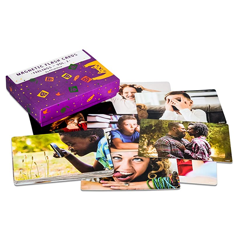 Attractivia Magnetic Flash Cards - 38 Large Feelings Cards Vol. 2 - (Advanced Emotions) - for Teachers, Parents, Therapists