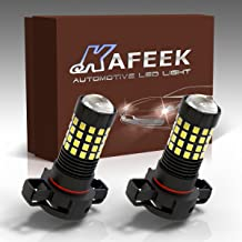 KAFEEK 2x Super Bright 2835 Chipsets 1200 Lumens H16 5202 5201 LED Fog Light Bulbs with Projector for DRL or Fog Lights, Xenon White