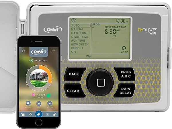Orbit 57946 B Hyve Smart Indoor Outdoor 6 Station WiFi Sprinkler System Controller Compatible With Alexa