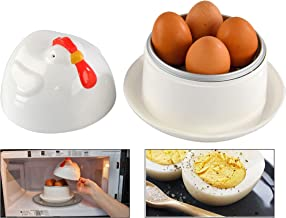 HOME-X Jumbo Hen-Shaped Microwave Egg Boiler with Lid, Cook 1 to 4 Eggs, Quick Hard Boiled Egg Maker, Breakfast Cooking Ut...